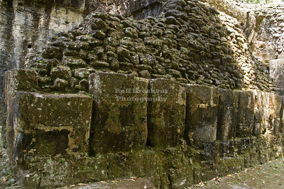 Ruins of the massive outer wall, Acanaladuras Palace or Group G Maya Site at Tikal National Park, Guatemala, a UNESCO World Heritage Site
