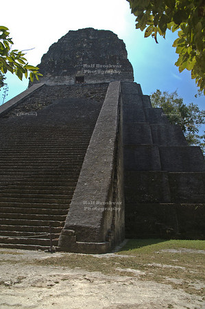 Temple V, the oldest Pyramid in Tikal, constructed around 600 A.D. by the ruler Animal Skull Maya Site at Tikal National Park, Guatemala, a UNESCO World Heritage Site