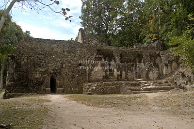 Rear exterior of the Acanaladuras Palace with the corbeled tunnel that leads to the inside,  Maya site in Tikal National Park, Guatemala