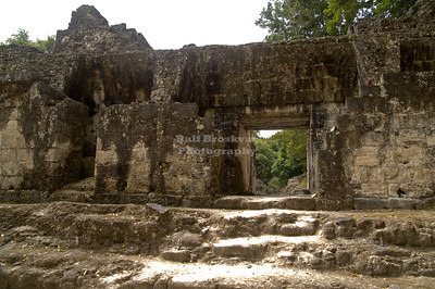 Small rooms inside the Acanaladuras Palace Maya Site at Tikal National Park, Guatemala, a UNESCO World Heritage Site