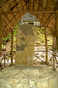 Altar stone in front of Tempel VI, Tikal National Park, Guatemala