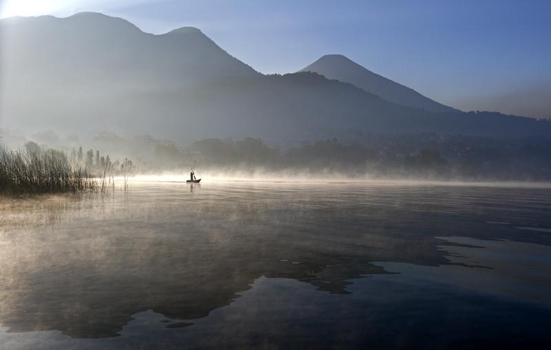 Lake Atitlan, early morning fog.