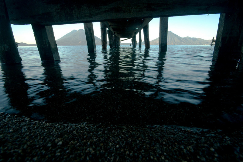 The Volcanoes from under the dock