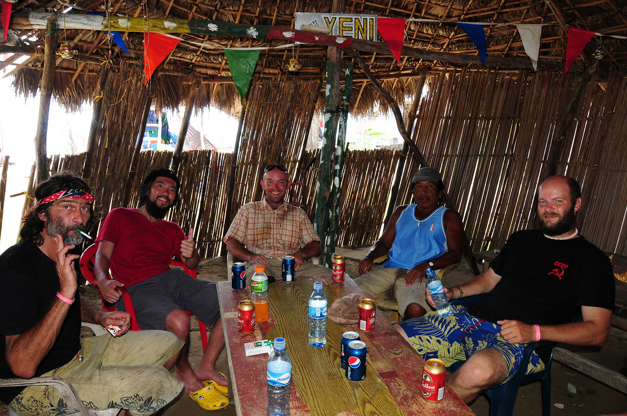 Joss,  Saburo, Adam,  boatman &  John in the bar at the Kuna Village