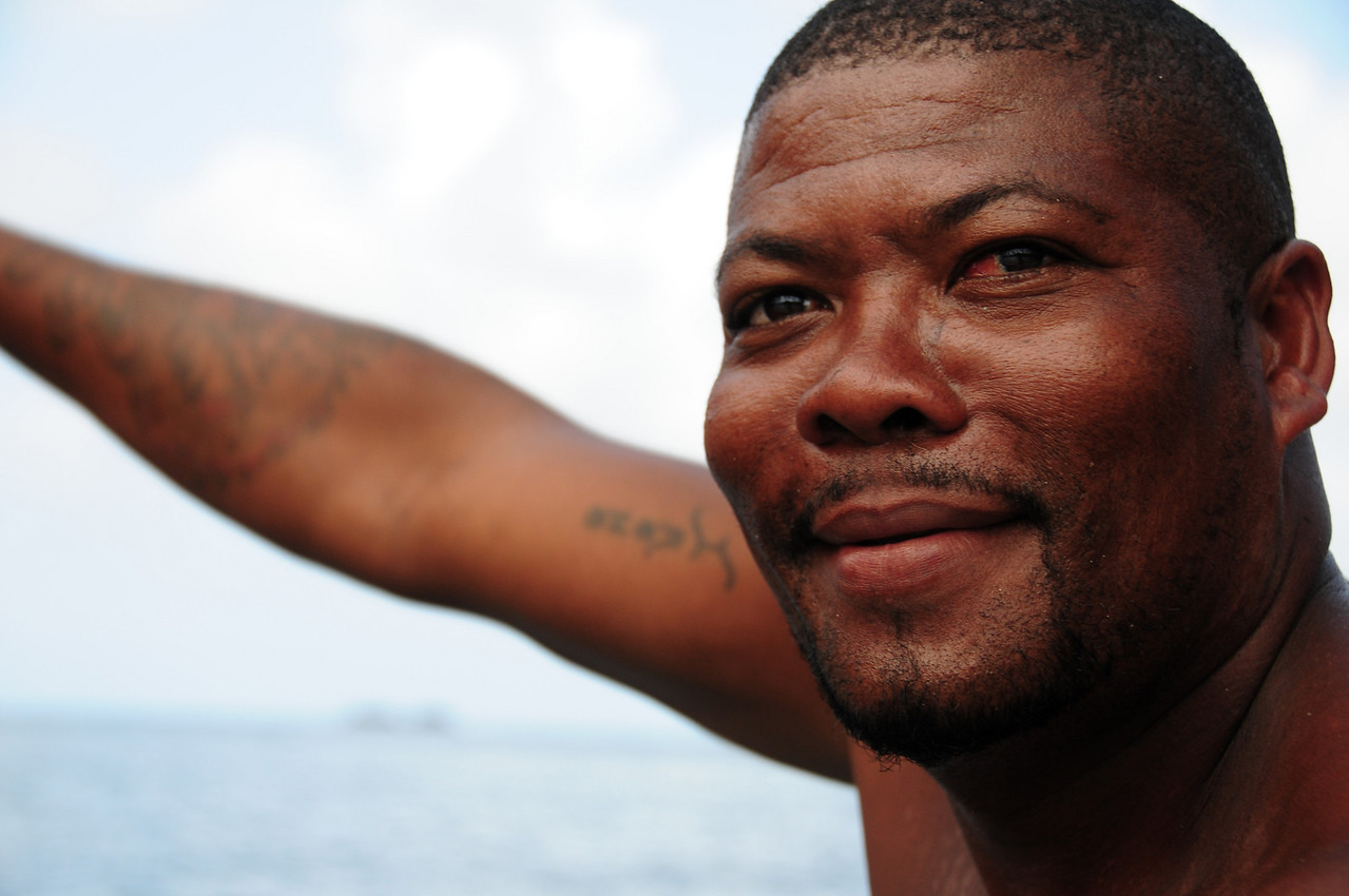 Boat handler at Puerto Linde, Panama