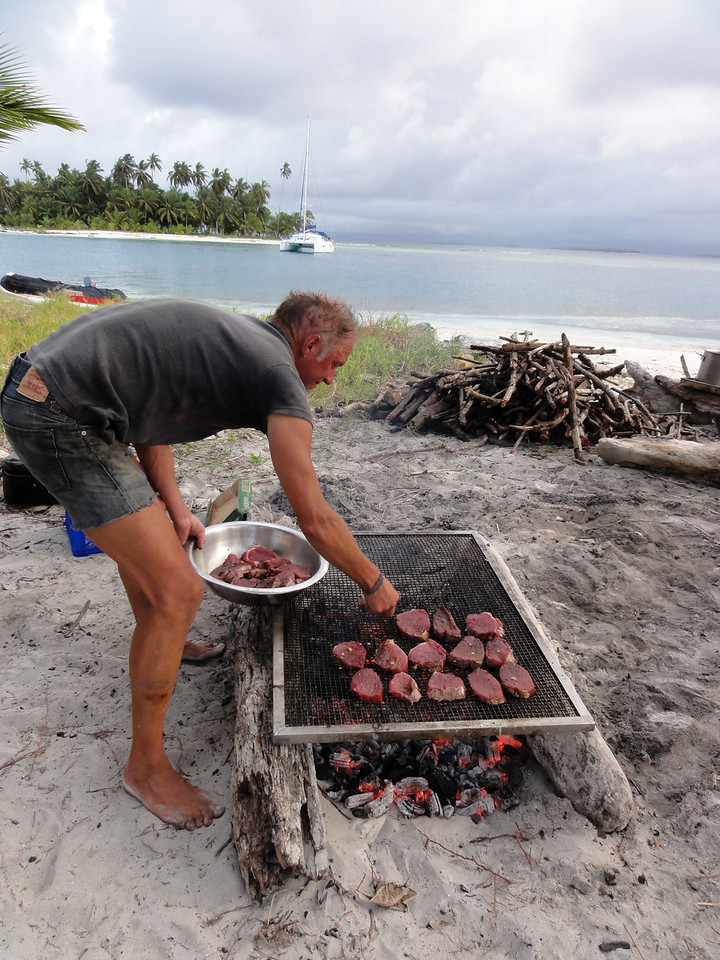 Laying on the steaks in the San Blas Islands