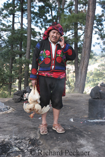 Maya Shaman takes a call (just before the moment of truth)for the chicken