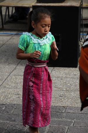 Little girl dressed in indigenous garb