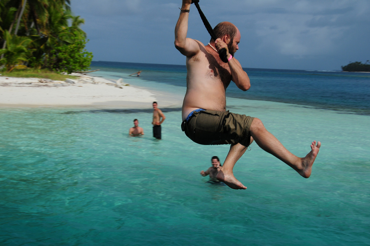 John (ADV Throttlemeister) on the Stahlratte boom swing in the San Blas Islands