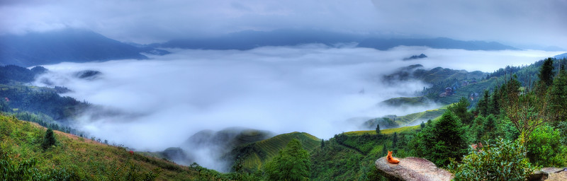 Morning fog below Panorama Hotel, Dazhai village