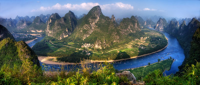 Li River from top of karst near Hebao Shan village, China