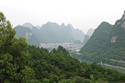 Yangshou nestled in it's valley.