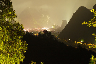 Nigh time long exposure of YangShou from hills to the North