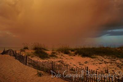 Rain storm moving ashore Gulf Shores, Alabama