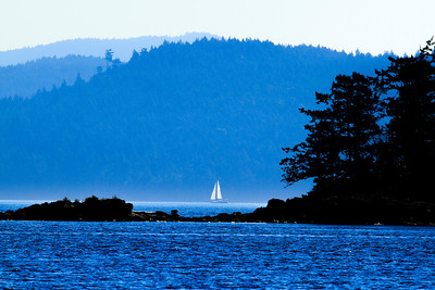 Sailing the waters of the Guif Islands, Canada.
