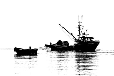 "The purse seiner ""Salish Sea""and dinghy set the net as they fish for salmon in the waters of Haro Strait, Canada. A black and white image."