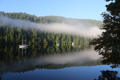The early morning fog breaks up over Todd Inlet near Brentwood Bay, Vancouver Island, Canada.
