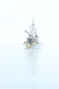 A fishing boat heads through the early-morning mist in quest of  its catch off Vancouver Island, BC in September 2013. This image has a vertical format.