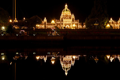 The Parliament Building at night in Victoria, BC, Canada.