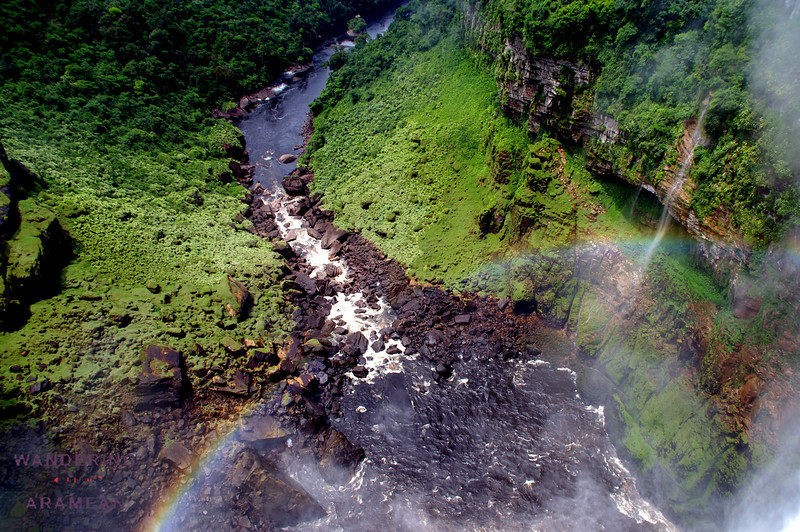 Another rainbow shot looking down from the edge of the falls