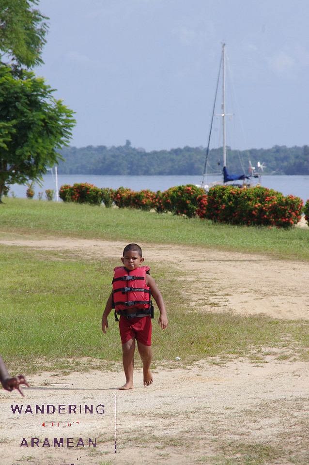 One of the kids playing at the resort where we stopped for lunch