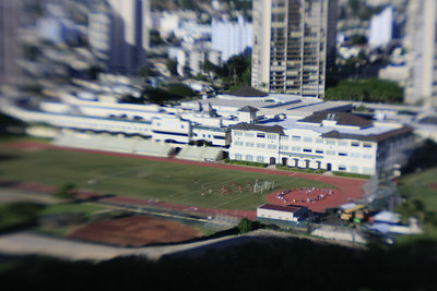 Iolani School Honolulu, Hawaii ..shot with Lens Baby 2.0 for that toy model look