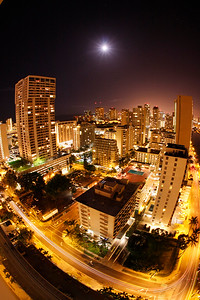 New Years night in Waikiki .. 10mm fisheye lens