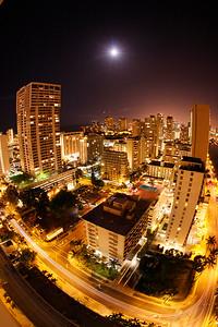 New Years night in Waikiki .. 10mm fisheye lens