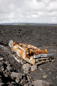 Truck set on fire by the Kilauea lava flow