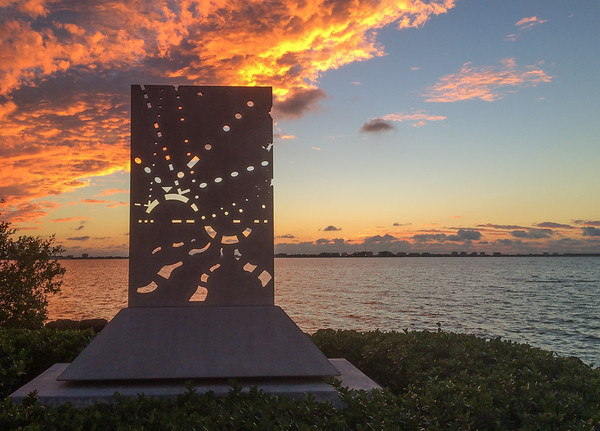 The Proton at sunset on the shore of Sarasota Bay at the Van Wezel Preforming Art Center.