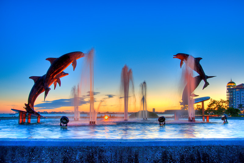 Dolphin Fountain Sunset