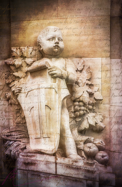 ~Little Man~<br /> <br /> This little man stands as a guardian on the exterior walls of the grand St. Germain des Pre's in Paris.  It's the details I have fallen in love with in Paris.  It's a beautiful city; rich in ornate buildings all garnished with precious art work like this little man.  How did these masterful artisan's create such fine detail with such primitive tools. The patience; the mastery of the craft; the tenacity to persist in creating with chisel and stone.  It is these details I love; for without them the whole wouldn't be.