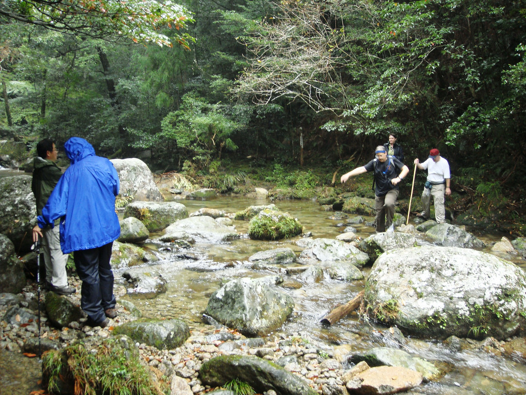 Hiking up to the falls above Nachi