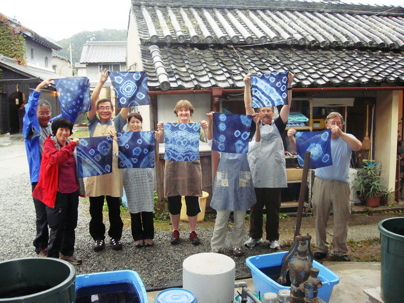 Indigo dyeing in Asuka. All smiles!