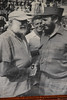 Old photo hanging in the Hotel Nacional of Ernest Hemingway shaking hands with Fidel Castro.