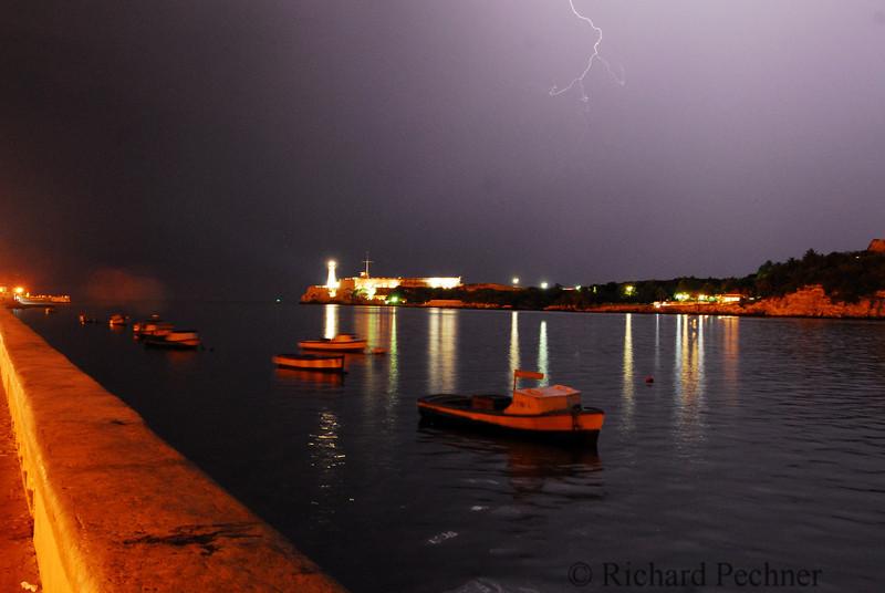 Lightening over harbor entrance in Havana Havana, Cuba