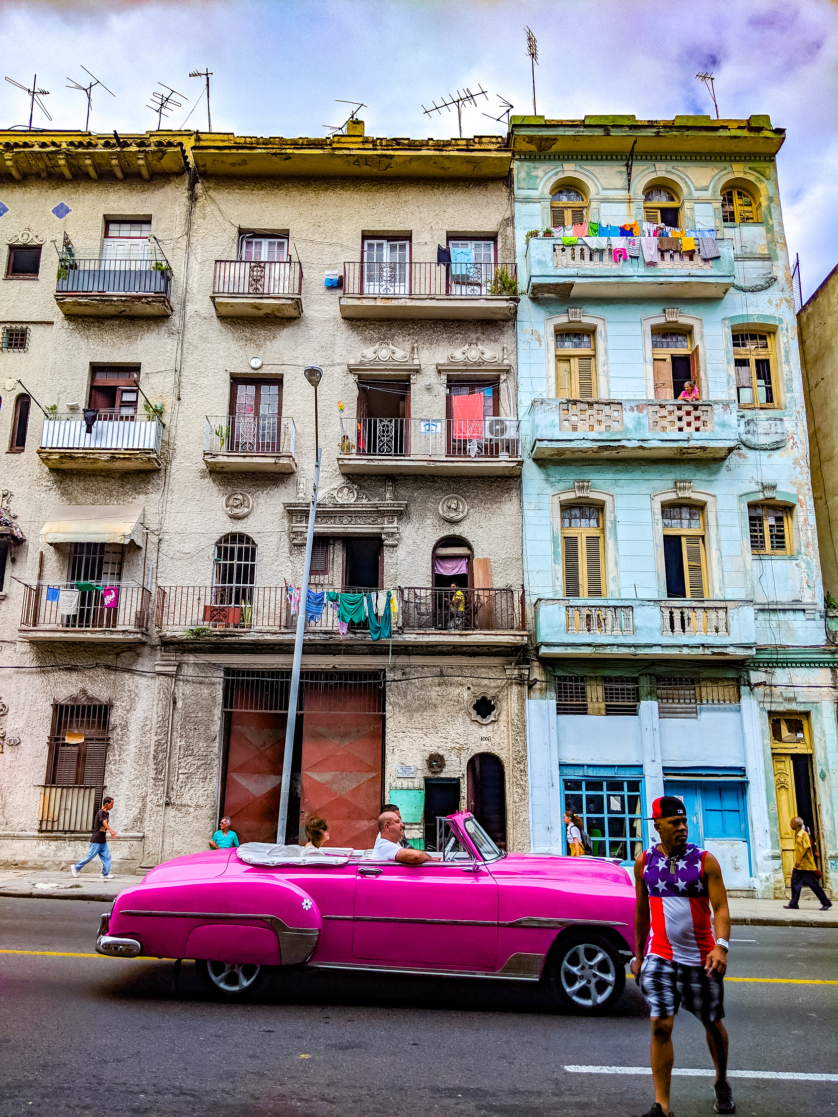 Pink convertible classic car in Centro Havana, Cuba