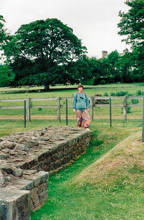 Gill next to a bit of Hadrian's Wall England - Jun 1996