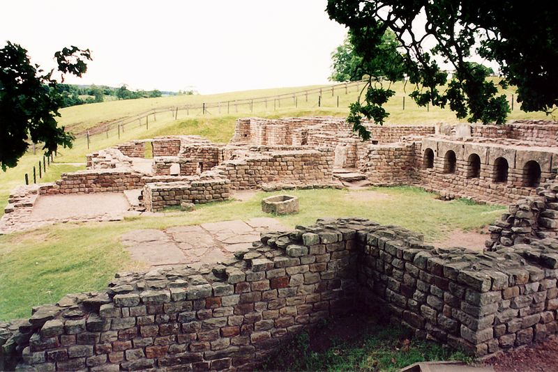Remnants of bathhouse - roamn fort Hadrian's Wall England - Jun 1996