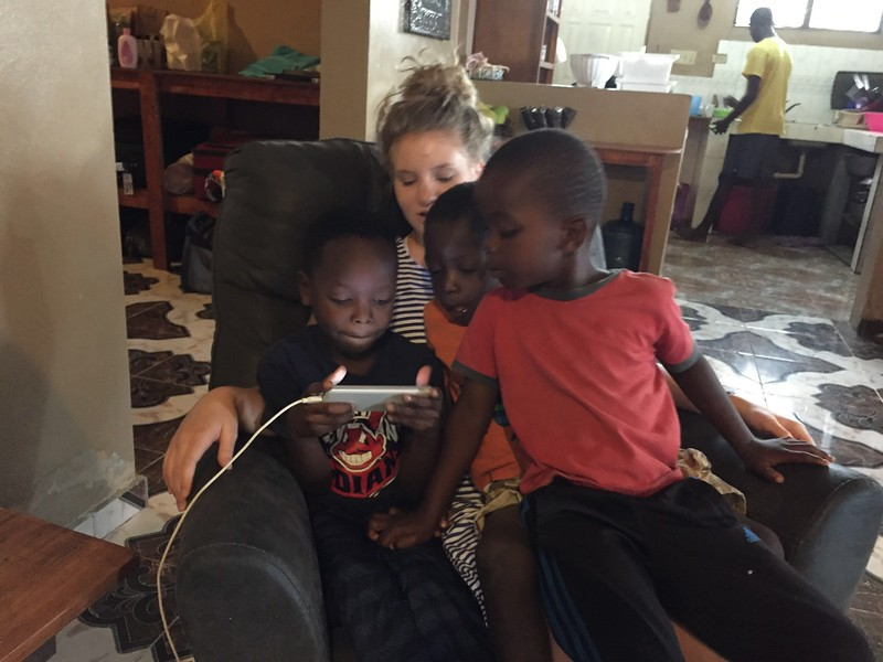 Day #5<br /> Morning at the team house. <br /> Lexi with Luckson, Stevenson & Shelson before breakfast.