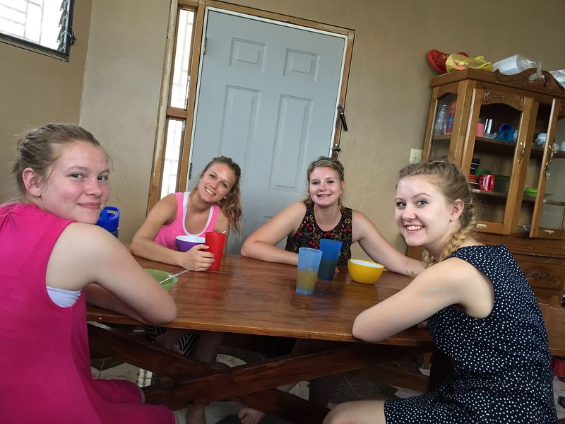 Day #3<br /> The girls enjoying lunch at the team house