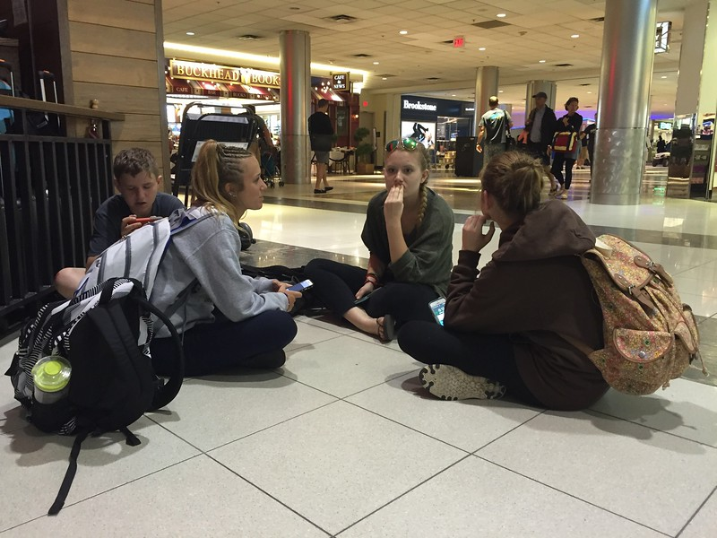 In Atlanta airport.<br /> Waiting on a table at TGI Friday's.