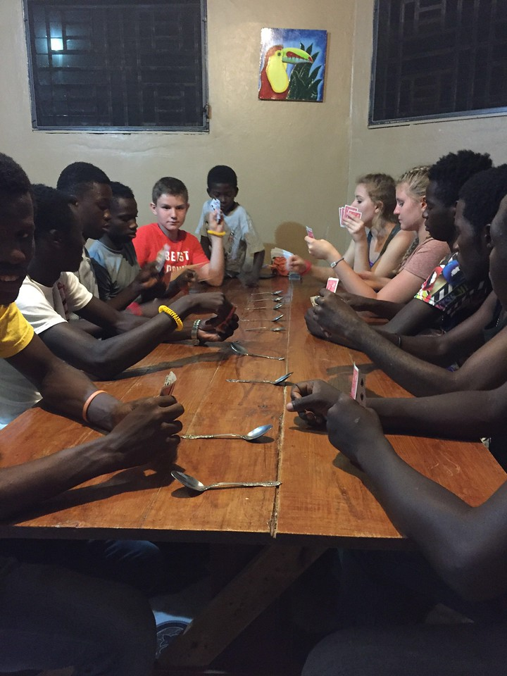 "Day#2<br /> Sam, Lynlea, Lauren & Lexi playing ""spoons"" with the boys."