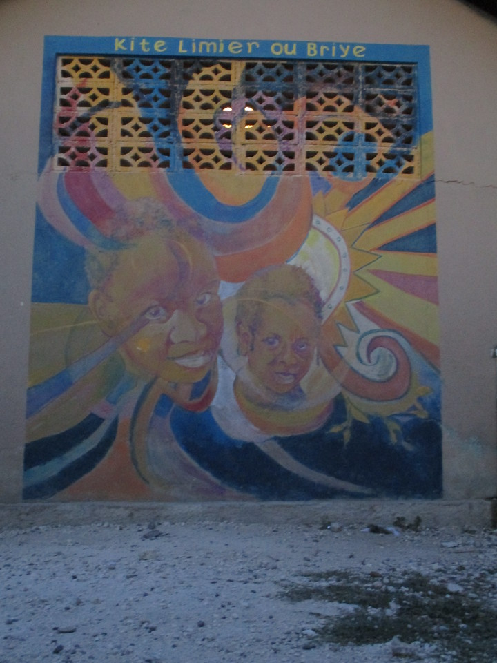 Mural on outside of church wall.