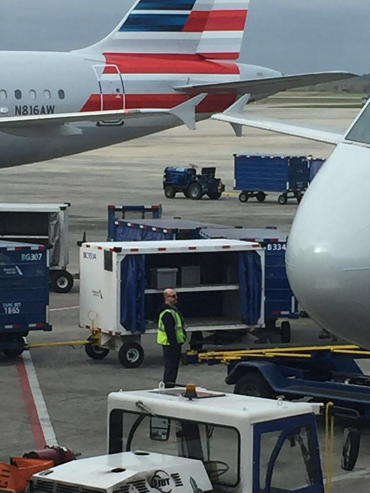 Our supply totes being loaded on the Florida flight