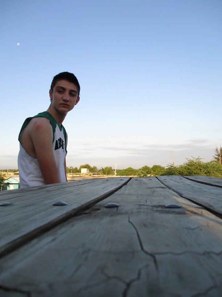 Derek, on the roof of the team house, morning of day #2. He looks thrilled, doesn't he?