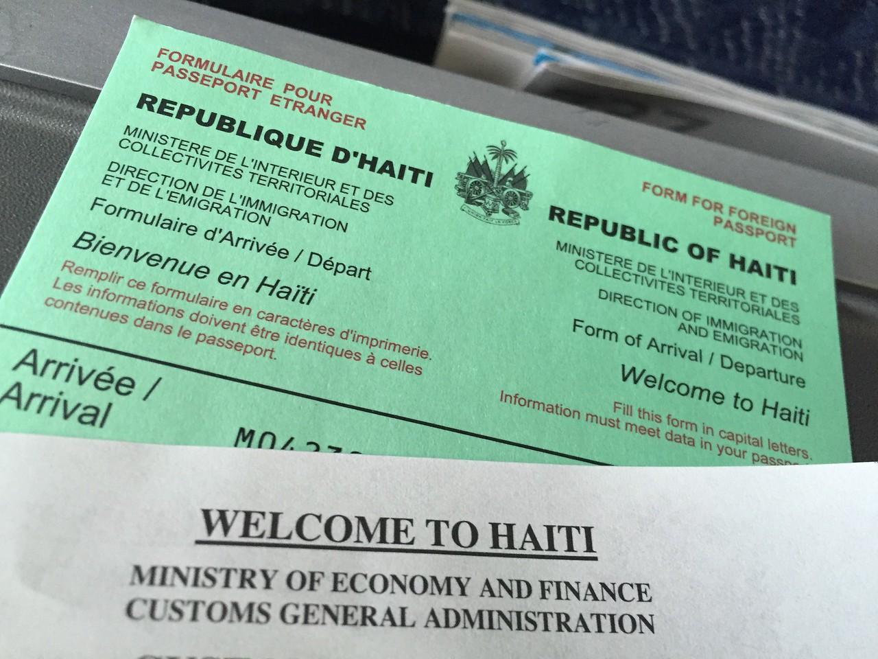 In-flight, just prior to landing in Haiti