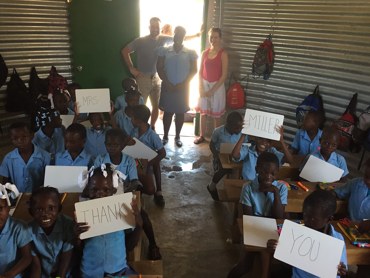 DAY 9<br /> Monday at school.<br /> The 1st grade class was happy and thankful for the school supplies.