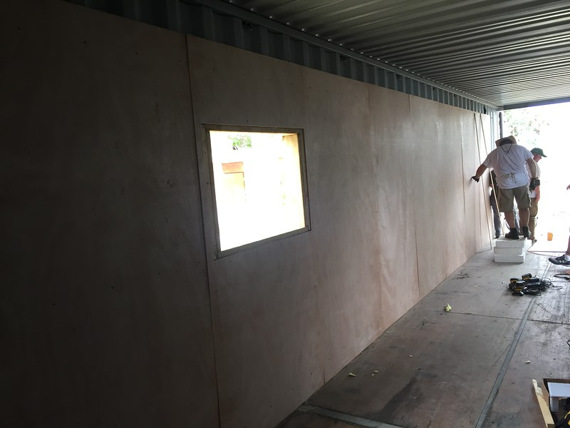 DAY 5<br /> Installing plywood walls.