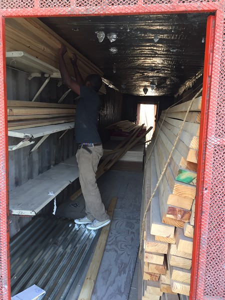 DAY 7<br /> Obtaining materials for our shipping container transformation project, from a shipping container lumber yard.... Coincidence?